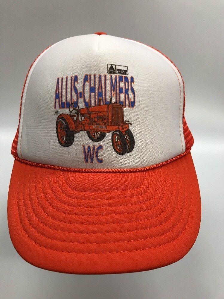 d77f2f59d59 Allis Chalmers WC Tractor Vintage Mesh Snapback Trucker Hat Orange White  Foam  AllisChalmers