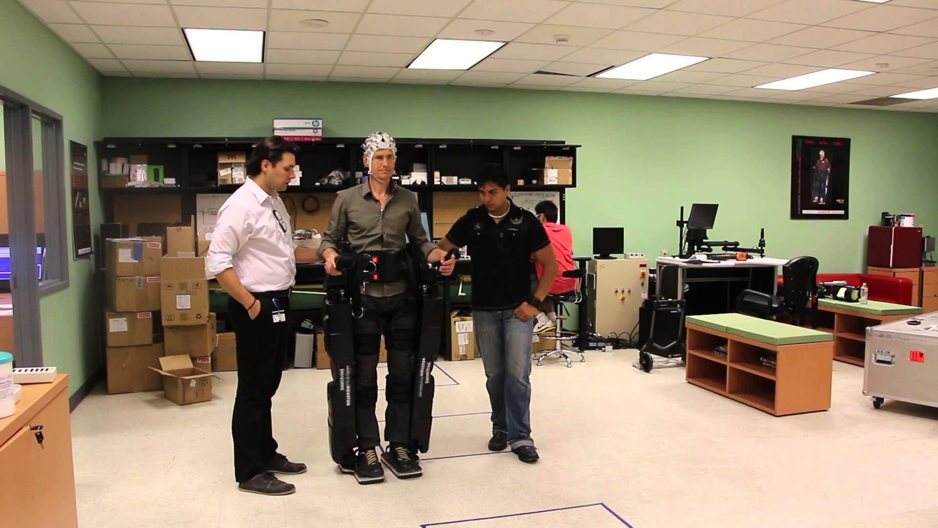 "Brain ""controlled"" Exoskeleton robot legs. Robot leg"