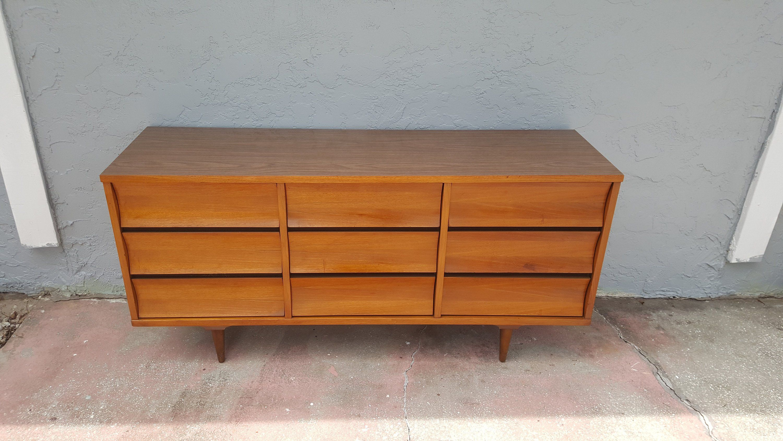 Best Johnson Carper Mid Century Modern Walnut Long Dresser With 400 x 300