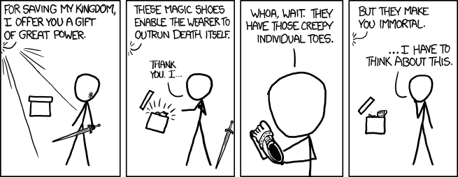 xkcd: Shoes    I *do* hear that they're the most comfortable thing to wear on your feet since sliced bread.