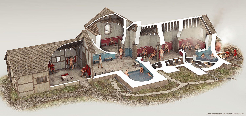 A Reconstruction Illustration Of Bearsden Roman Bath House