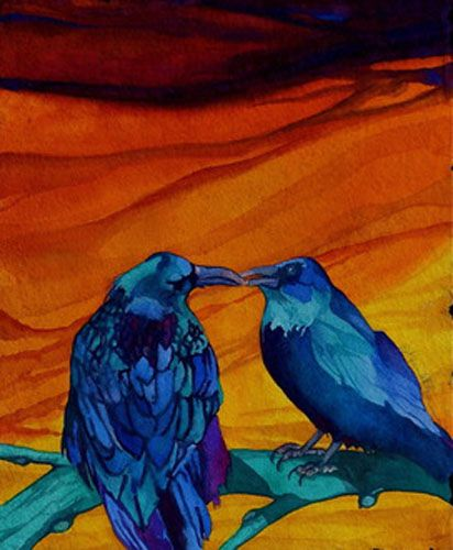"Karen Ahlgren - ""The Kiss""  Painting Watercolor on Gouache  Birds"