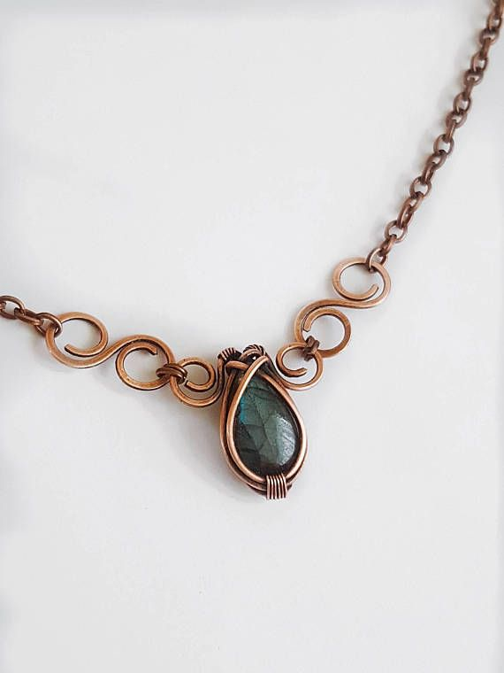 Celtic labradorite necklace medieval jewelry wire wrapped | Handmade ...