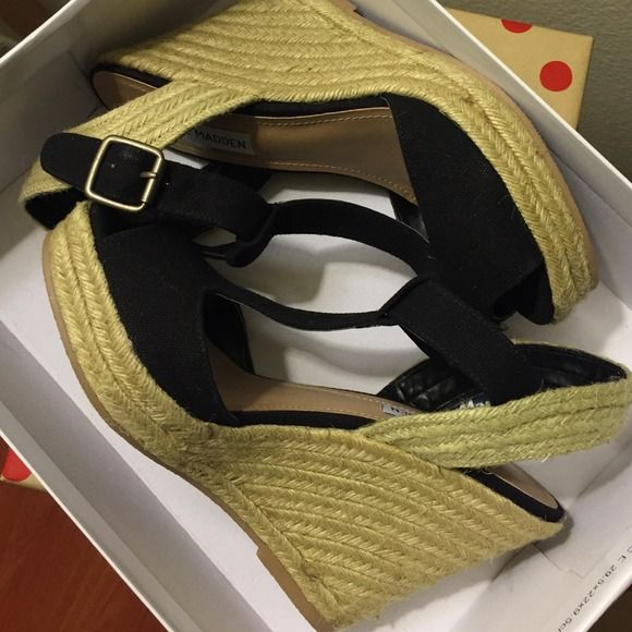 Steve Madden Fabric Wedges Cute wedges!  I do not trade or accept PayPal/Open to offers/Please use offer button. Steve Madden Shoes