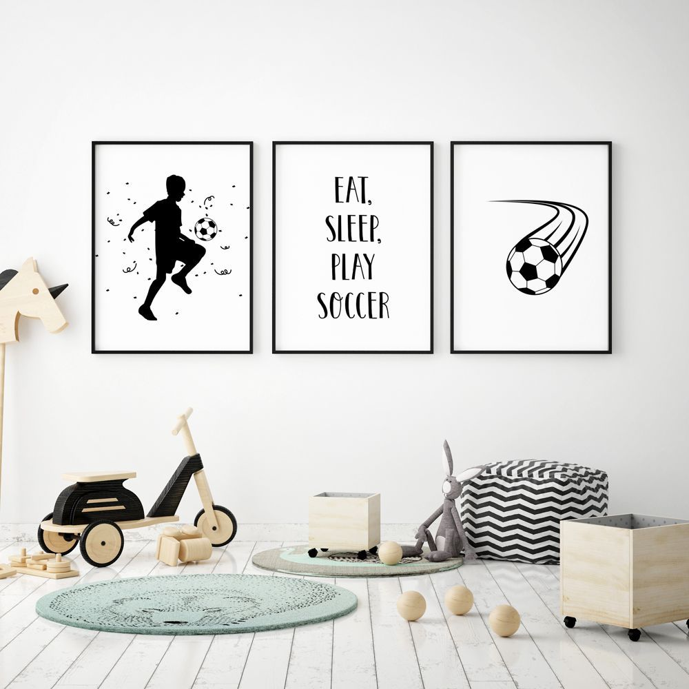 Soccer Wall Art Digital Download Prints Boy Nursery Soccer Etsy