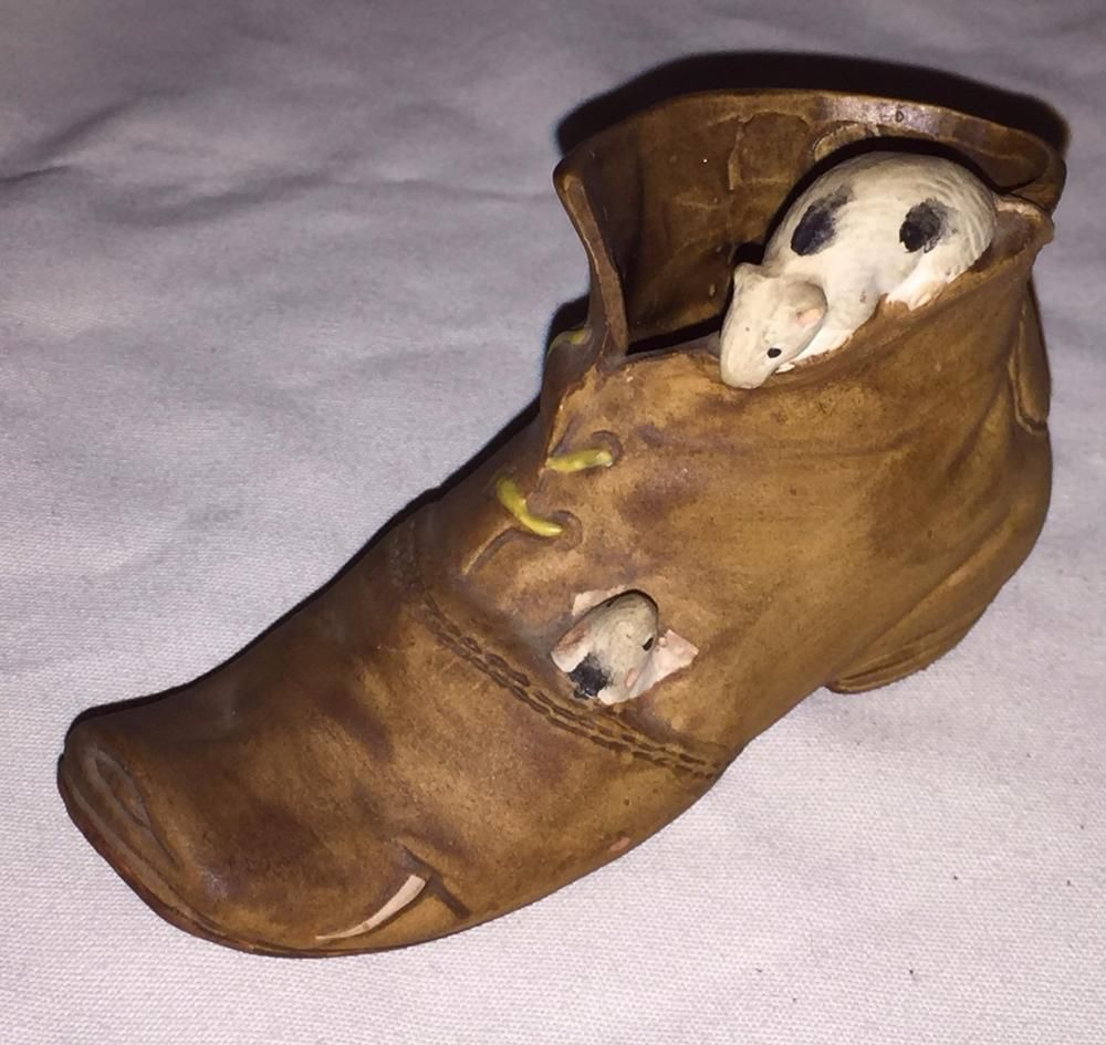 Mice In An Old Shoe Figurine Made In Japan Vintage Mouse Boot Statue Knick Knack