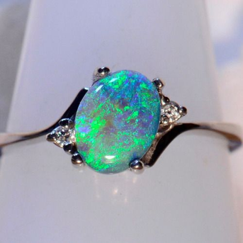 Solid 18ct White Gold Solid Lightning Ridge Australian Black Opal U0026 Diamond  Ring