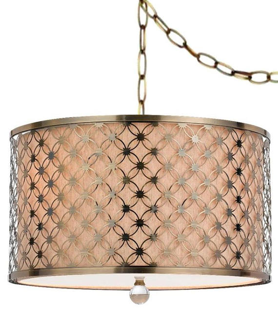 Antique Brass Beige Linen Drum Plug In Pendant Light Swag Lamp