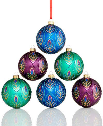 Holiday Lane Set Of 6 Peacock Shatterproof Ornaments Only At Macy S Christmas Ornaments Shatterproof Ornaments Christmas Decorations Sale