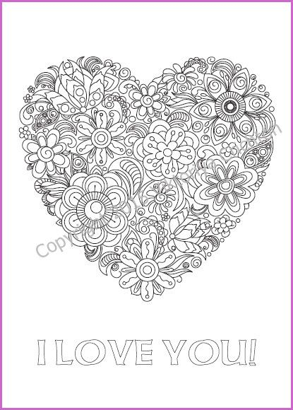 Coloring Page Doodle With A Heart Of Flowers I Love You
