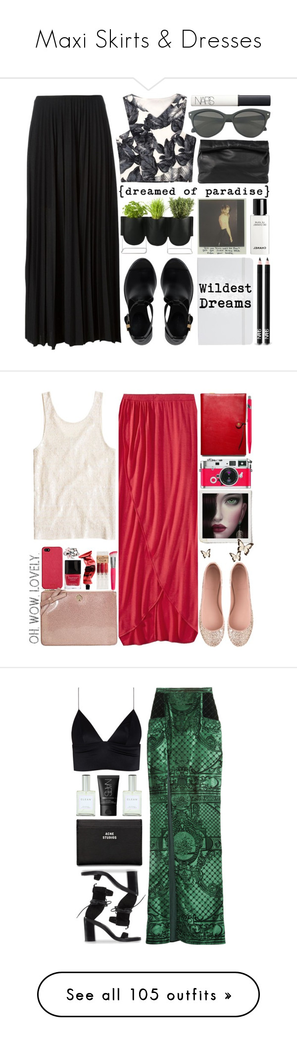 """""""Maxi Skirts & Dresses"""" by prettybrunette ❤ liked on Polyvore featuring LongSkirts, dresses, maxiskirts, Marie Turnor, Theory, Authentics, Chanel, Balenciaga, ASOS and NARS Cosmetics"""