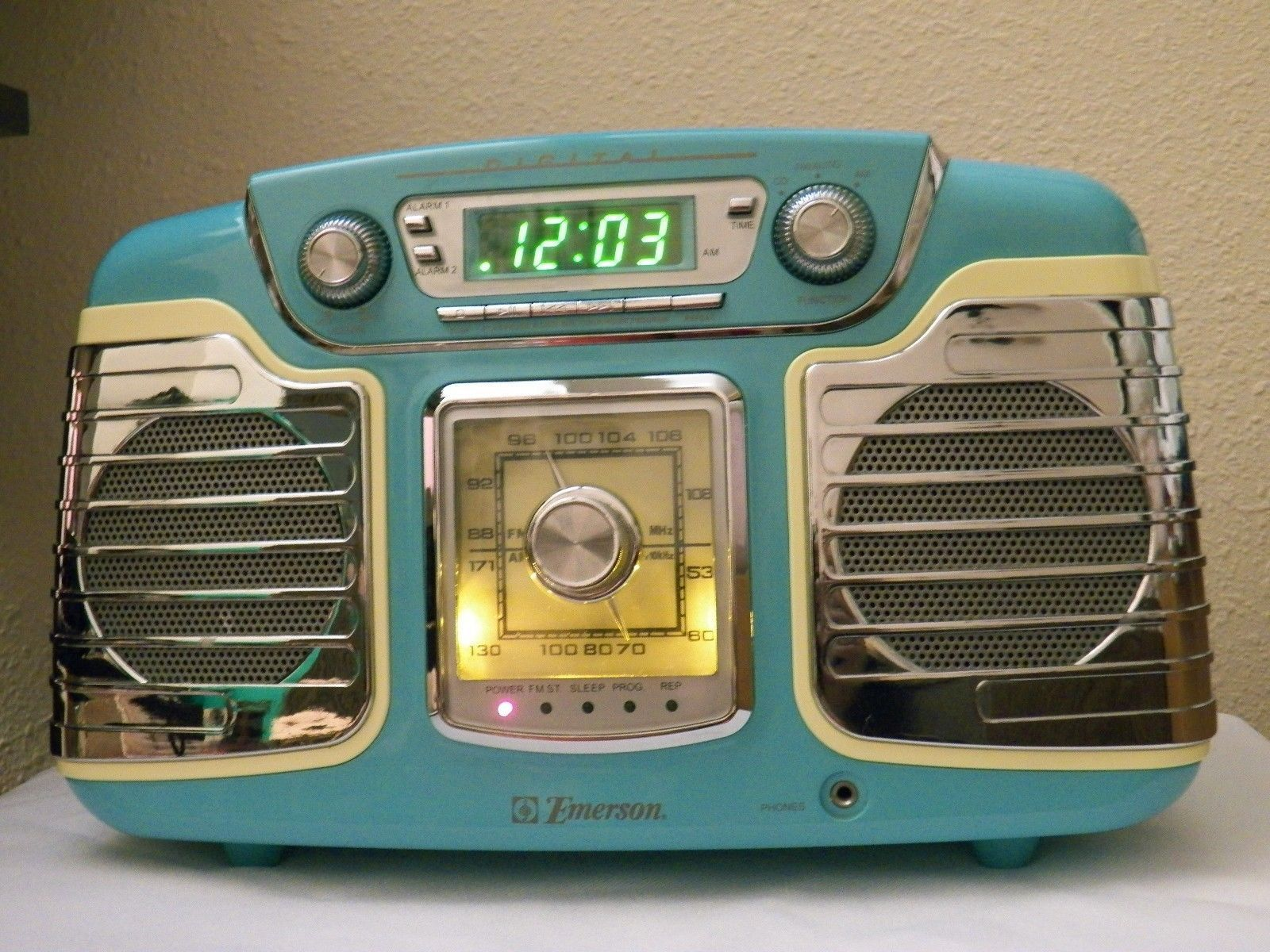 retro look 50 39 s emerson digital radio cd player alarm clock teal twelve hounds ebay. Black Bedroom Furniture Sets. Home Design Ideas