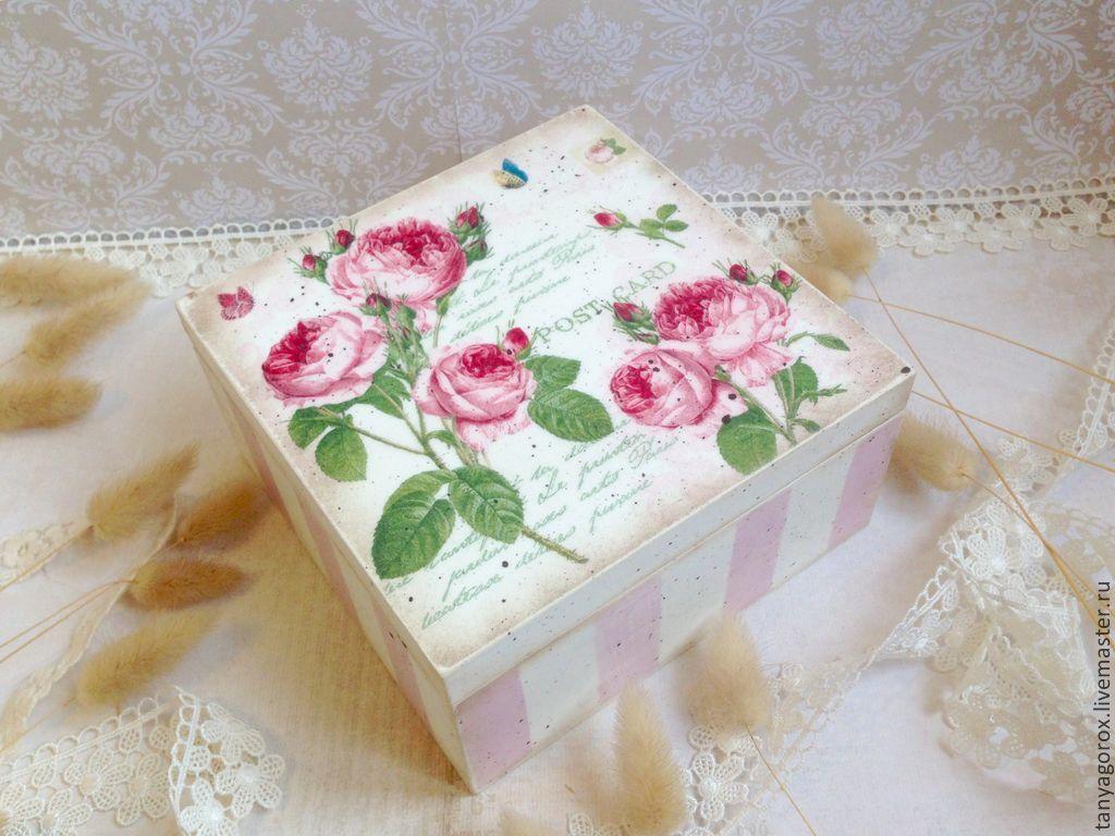 Купить Розы нежный аромат - шкатулка для мелочей - бледно-розовый, в полоску, розы, шкатулка
