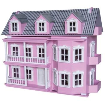 If you are after a pretty sturdy girls doll house than this style of house might suit your princess...  A classic Victorian Doll house that comes with:      Family of 7 flexible wooden dolls     25 pieces of furniture     play area 2 levels and attic  Assembled Dimensions: 800 x 340 x 670mm