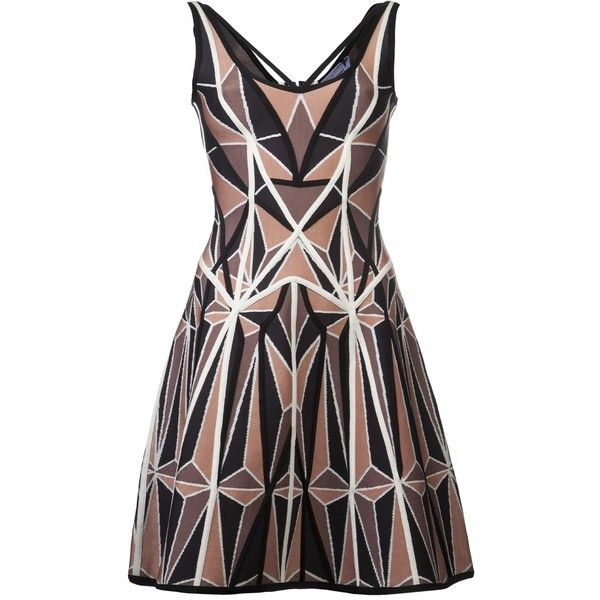 HERVE LEGER A-line dress (8,150 CNY) ❤ liked on Polyvore featuring dresses, vestidos, strap dress, deep v neck dress, a line dress, geometric pattern dress and geo dress