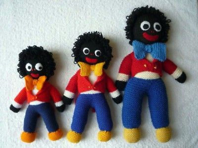 Knitting Pattern Traditional Golliwog Doll 3 Sizes Knitting