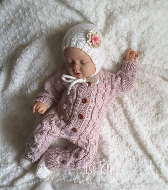 Hand knitted baby beige romper Hand knit baby set Baby knitted clothes Knitted jumpsuit Newborn coming home set Newborn knit outfit