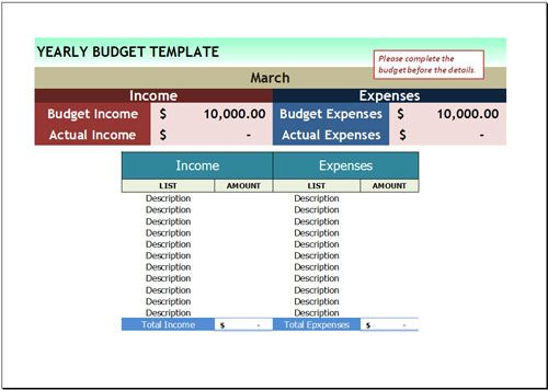 Free Yearly Budget Template For Excel Budget Management