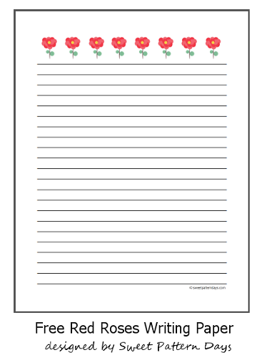Free Lined Writing Paper Free Red Roses Lined Writing Paper  Write On  Pinterest  Red .