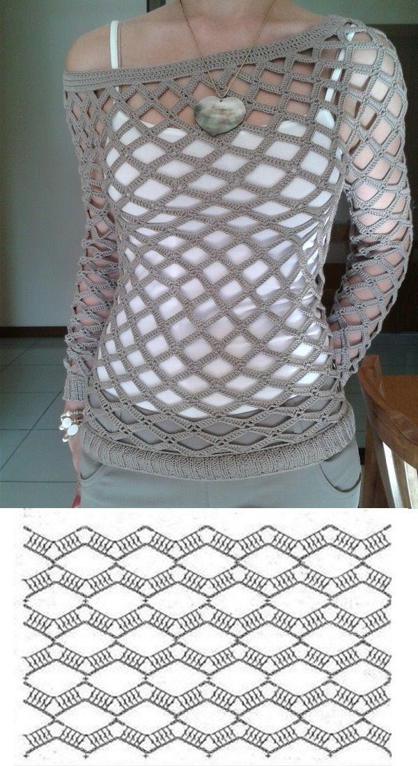 кофта сетка крючком | crochet | Pinterest | Camisetas, Tejido y Blusas