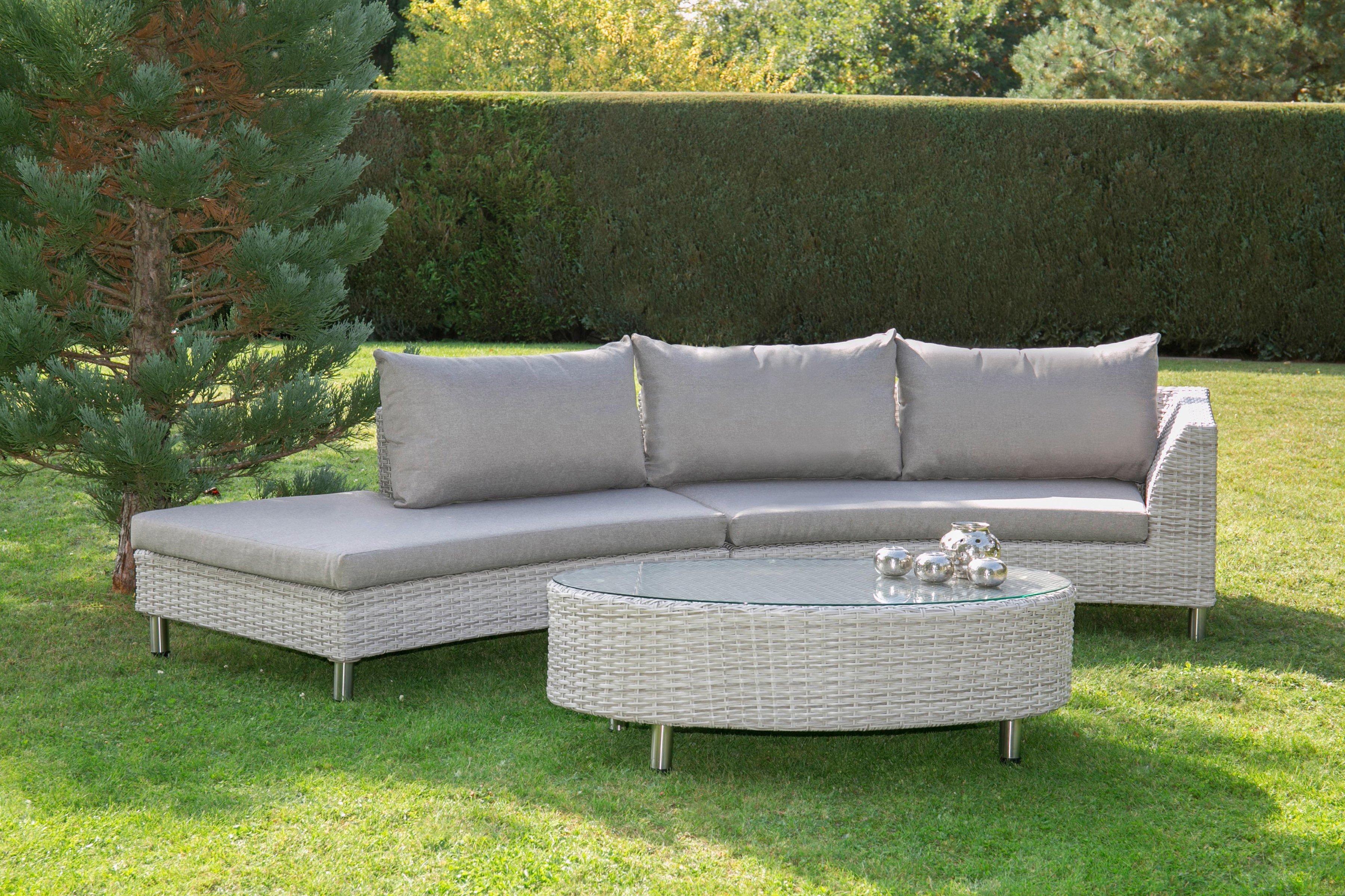 Bellasole Loungeset 8 Tlg 2 Banke Tisch 130x79 Cm Polyrattan Cremeweiss Lounge Mobel Loungemobel Garten Lounge
