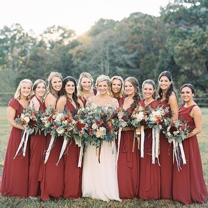 Beautiful burgundy bridesmaid dresses #bridesmaiddresses #bridesmaids