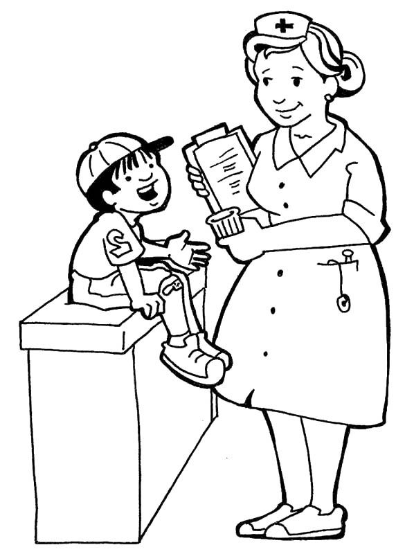 Nurses and little kids coloring pages printables 2 for Nurse coloring page