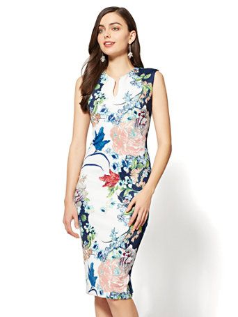 f54e0265d87f Shop V-Neck Sheath Dress - Navy Floral. Find your perfect size online at  the best price at New York & Company.