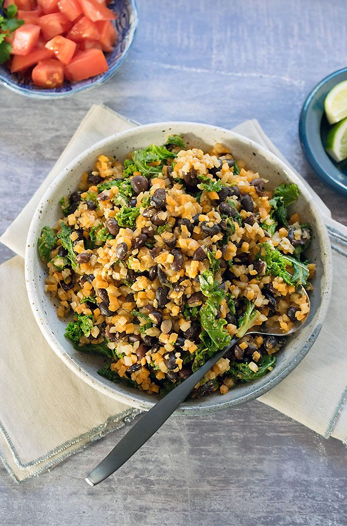 Quick And Easy Weeknight Vegan Skillet Cauliflower Rice And Black Beans With Kale