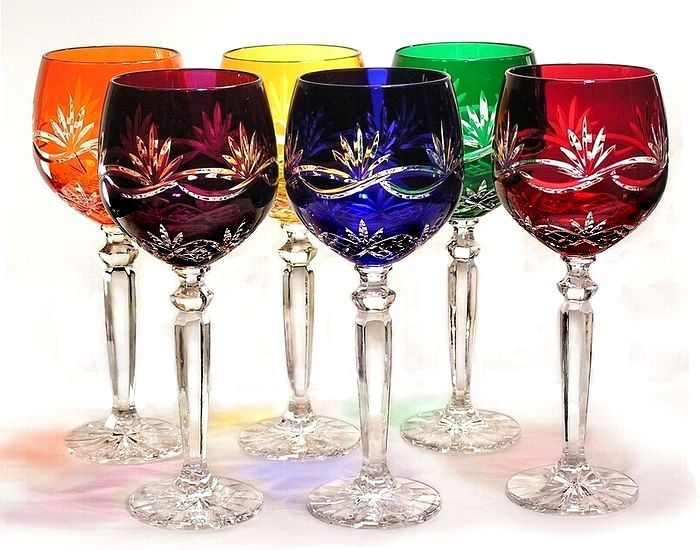 Great Price Hand Cut Multi Colored Stemware Intricate Detail Set Of 6 Gems Reg 369