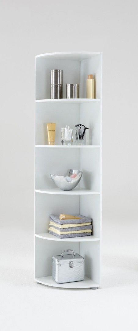 Etagère D Angle Contemporaine 5 Casiers Coloris Blanc Nickie