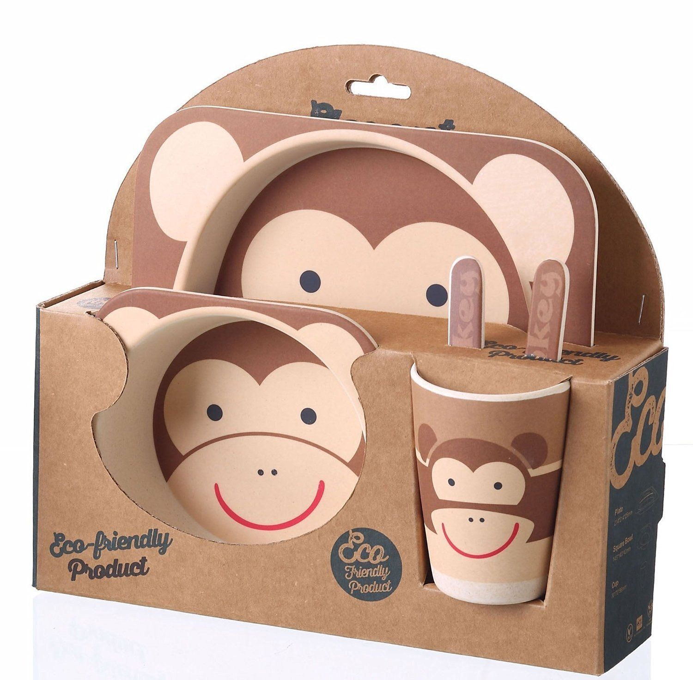 5 Piece Kids Dinnerware Set   Eco Friendly Bamboo   BPA Free   Monkey Design