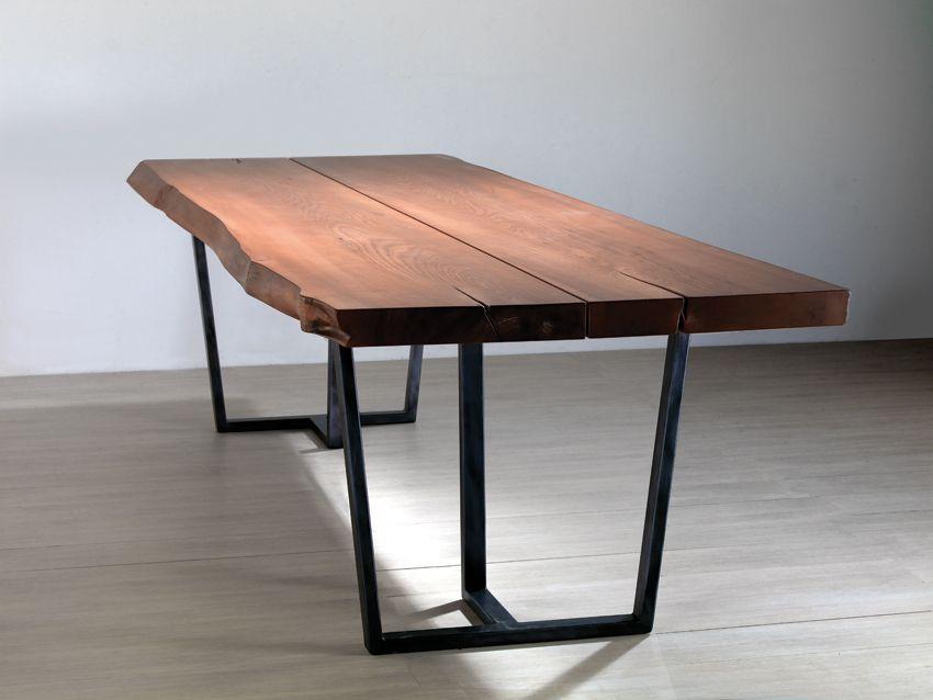 Tavolo Noce ~ Tavolo da cucina legno di castagno e gambe in ferro colore naturale