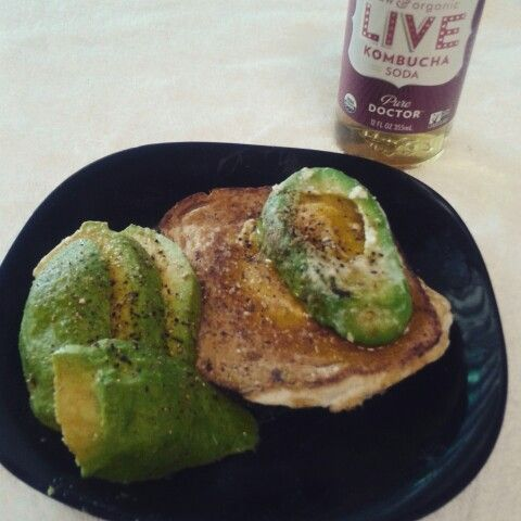 I really love having an hour long lunch because it gives me time to run home, refresh and make a good meal on my lunch break. This is 2 eggs 1 piece of wheat toast and one avacado. I cooked the toast hole in one style with one egg and then I cooked the other egg into a sliced avocado also hole in one style and then start on top of the toast I seasoned with salt pepper rosemary a little bit of sage and garlic. It is delightful tasting and really help cheer me up for the rest of my shift♡