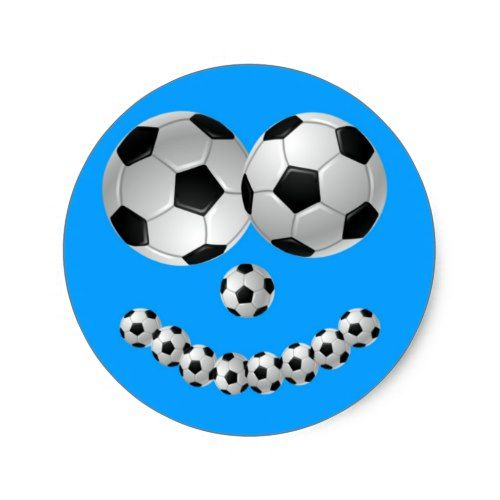 Blue Soccer Smile Classic Round Sticker
