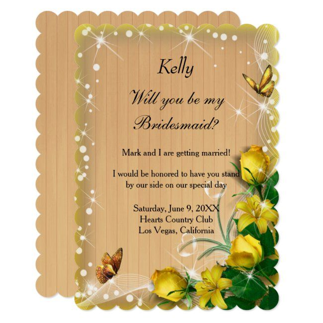Rustic Wood Yellow Floral Butterfly Bridesmaid Invitation #Ad , #affiliate, #Floral#Butterfly#Bridesmaid#Yellow