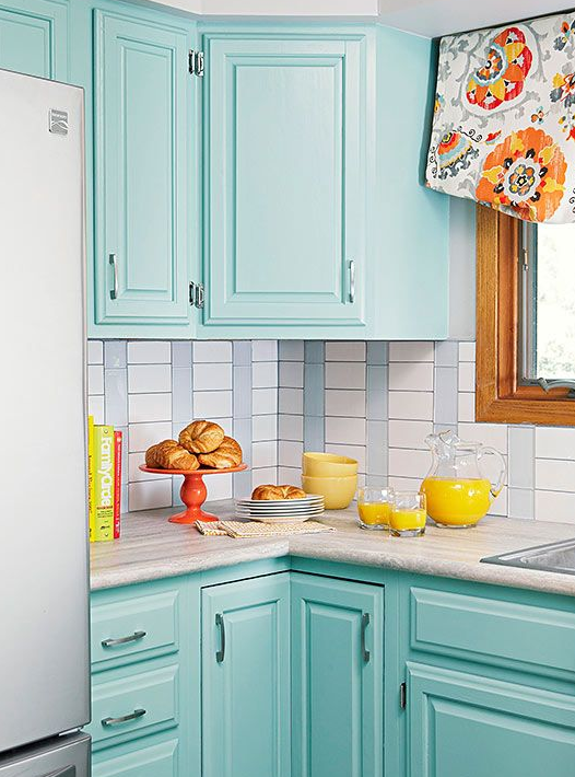 Superbe Tiffany Blue Kitchen Cabinets