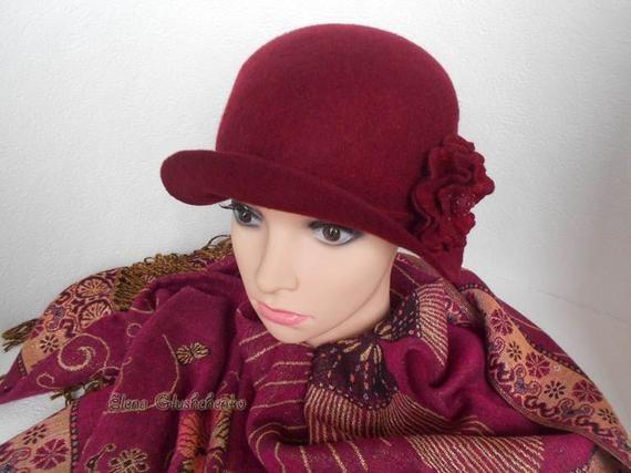b0de8de5e07 Felted Hat READY TO SHIP Trendy Women s Hat Cloche Hat Felt Wool Hat  Handmade Felted Hat Fashionable Hat Warm Hat with brooch Gift for Woman
