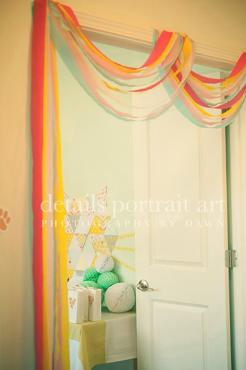 Crepe paper streamer door garland abby hunter of fete for Decor using crepe paper