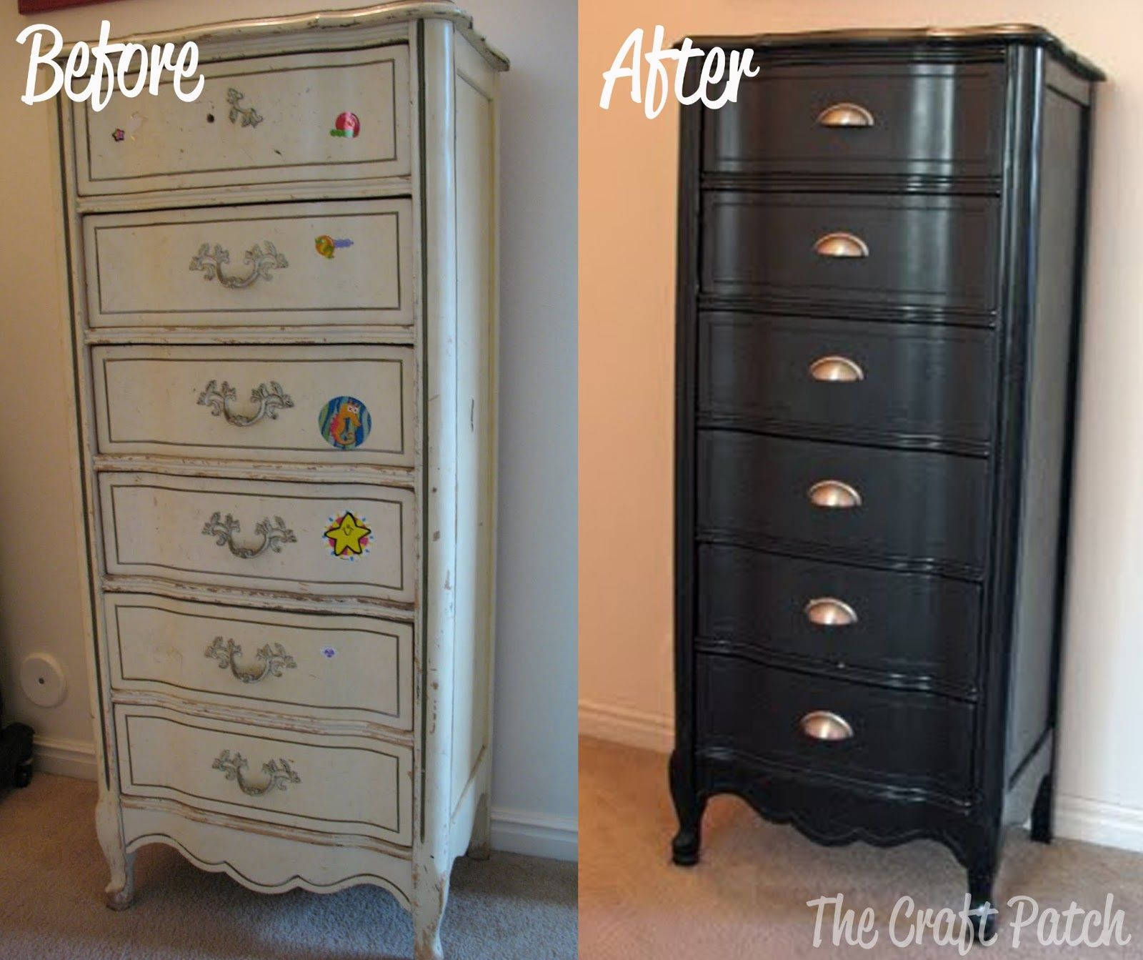 Painted furniture ideas before and after - The Craft Patch Furniture Redo The 5 Dresser