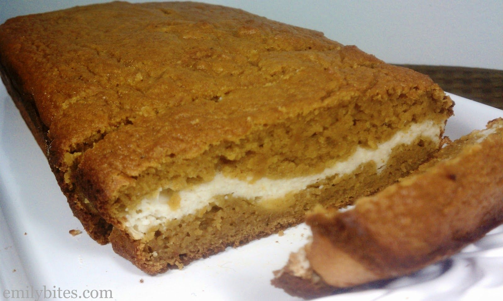 7/29/13 - Emily Bites - Weight Watchers Friendly Recipes: Pumpkin & Cream Bread - Turned out great. Texture is very smoothy and moist. The cream cheese frosting could be a little sweeter, but will make again.