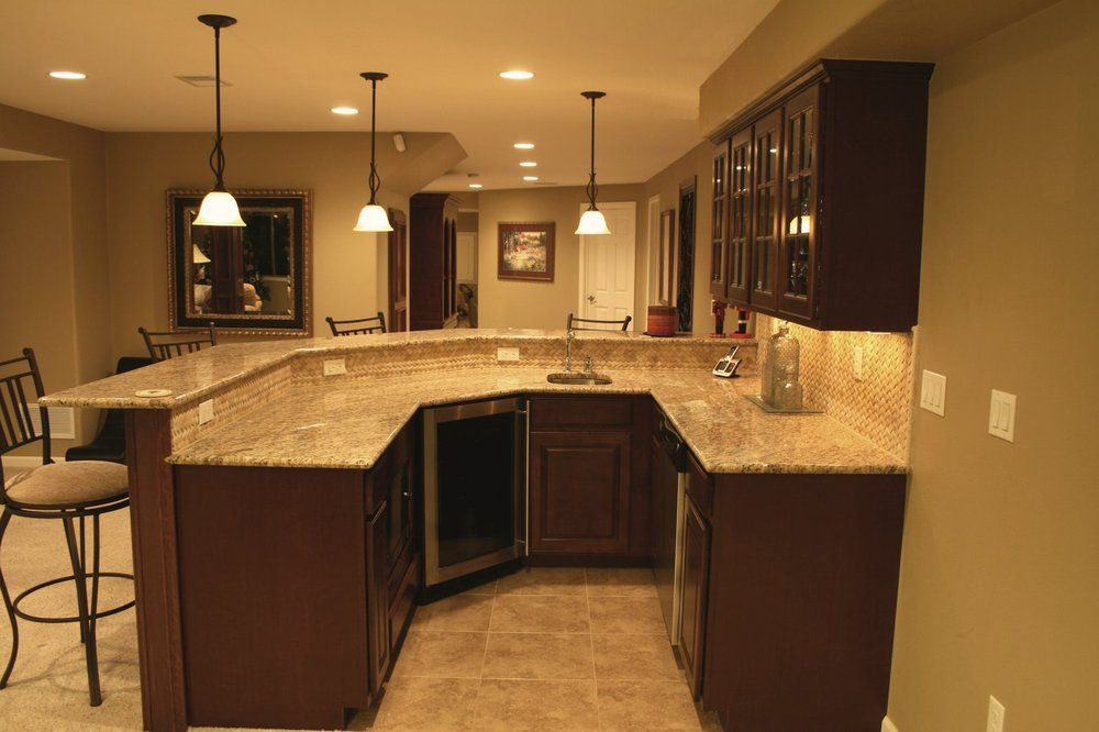 wet bar with granite counter mosaic tile back splash in basement finish yelp basement. Black Bedroom Furniture Sets. Home Design Ideas