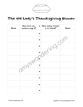 I took one of our favorite Thanksgiving books, I Know an Old Lady Who Swallowed a Pie, and turned it into a fun math lesson. We decided to add up all the food at the Old Lady's Thanksgiving dinner! First, we read through the book and made a list of the dishes. I let the [...]