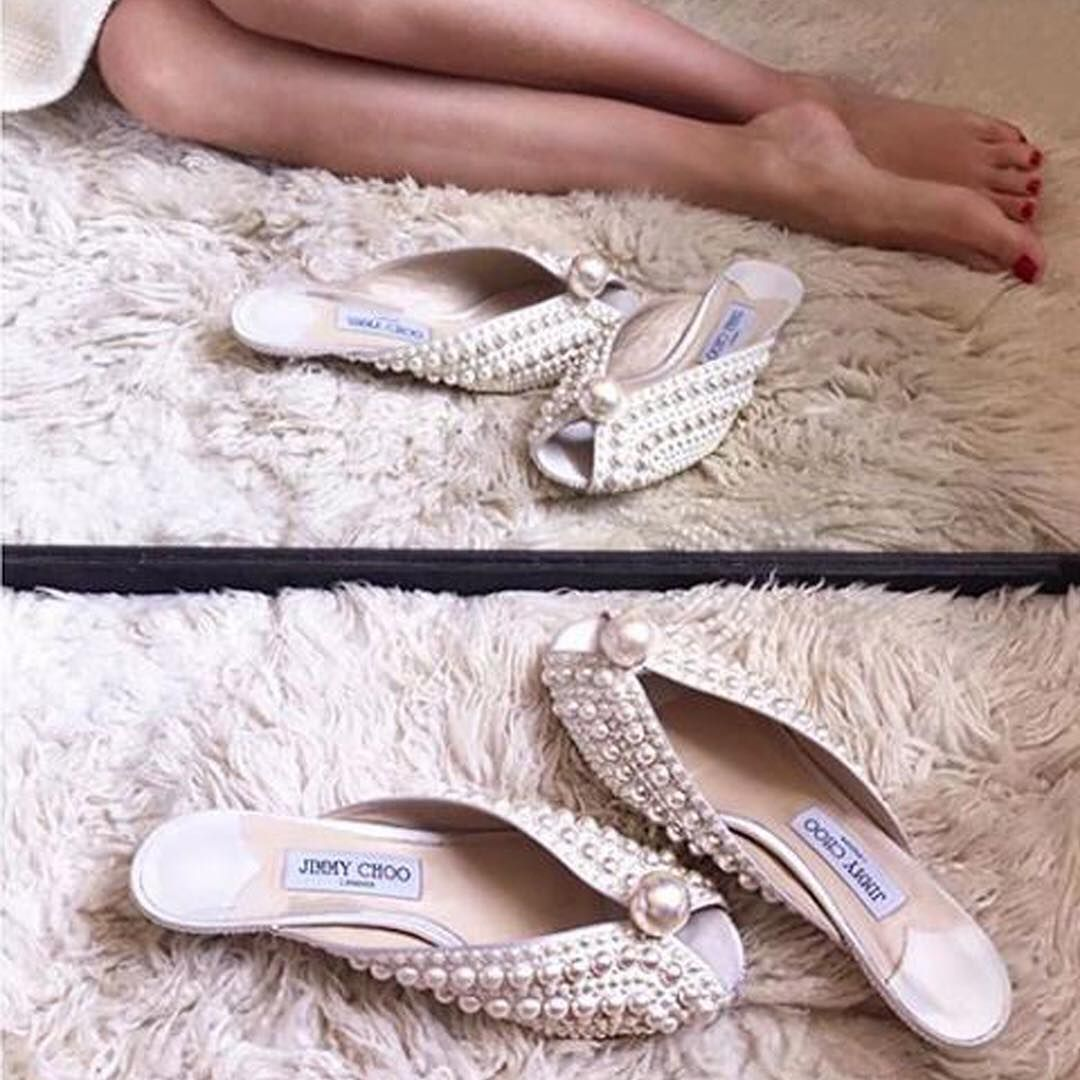 """2175d4efd85b Jimmy Choo on Instagram  """"Diamonds (and pearls) are a girl s best friend.  Styled perfectly in the SAMANTHA mules"""