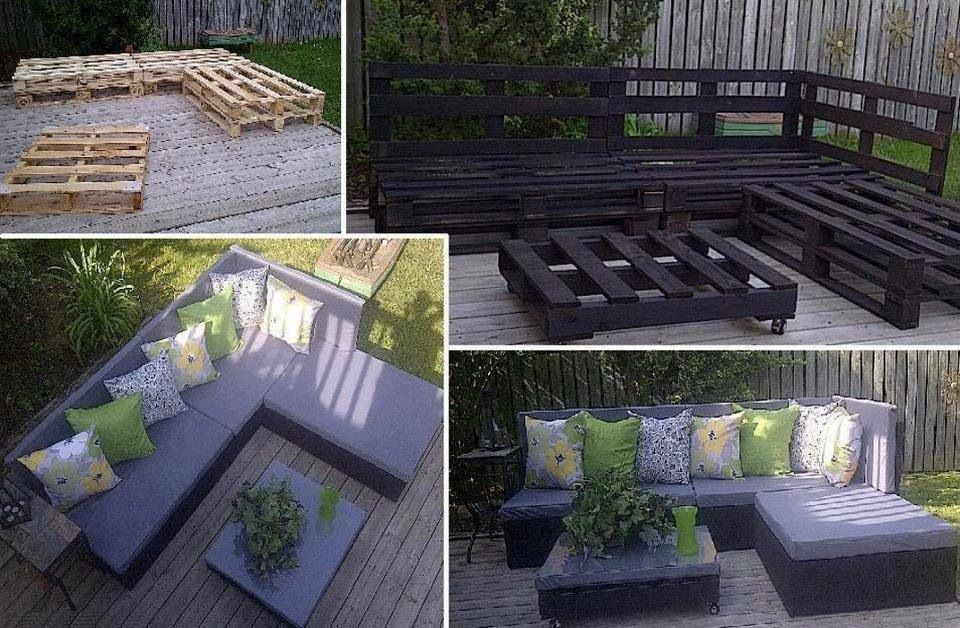 An easy DIY sectional for your patio made out of pallets, fabric