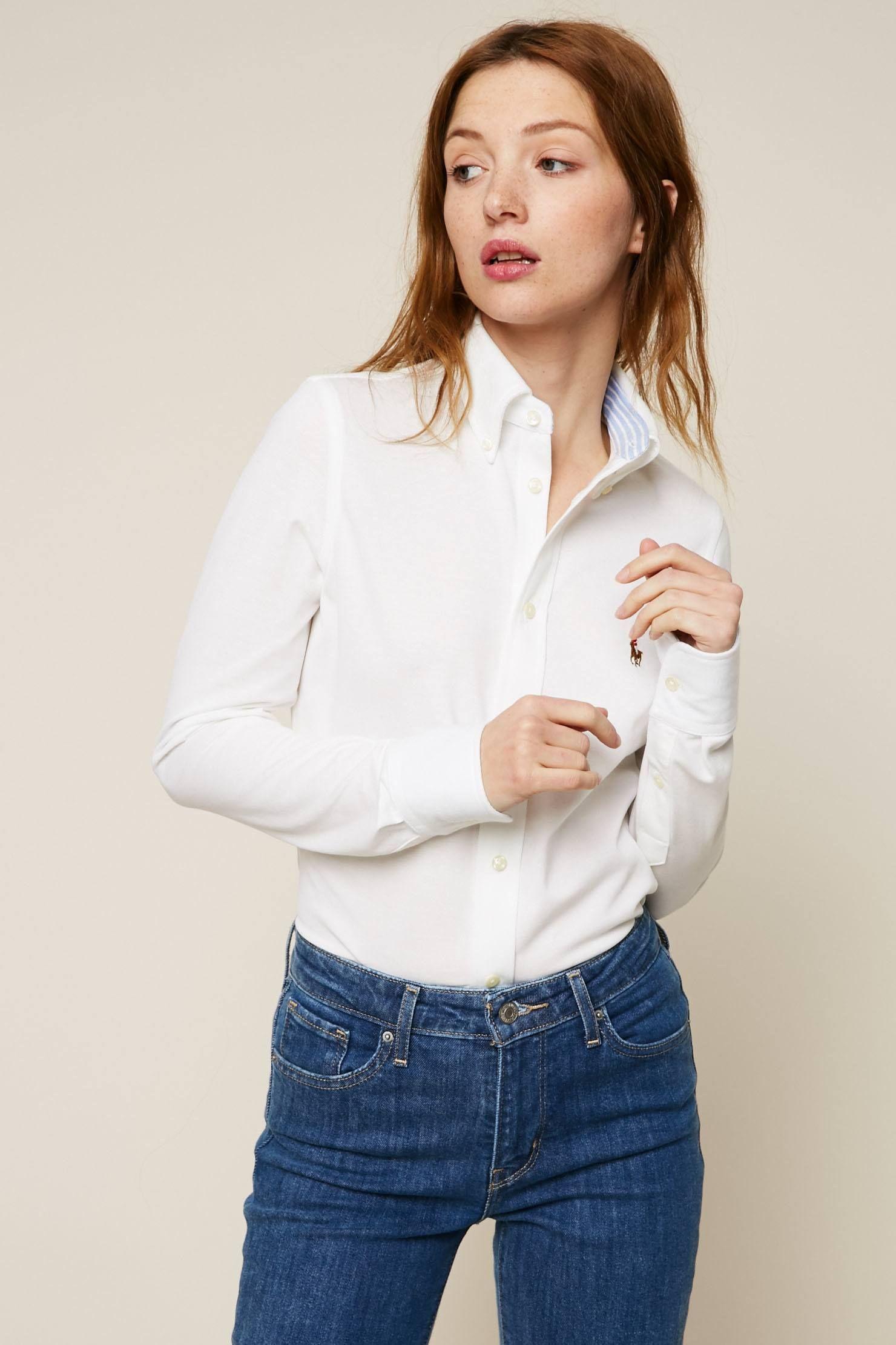 Polo Ralph Lauren Chemise en coton texturé Oxford blanc pas cher prix Chemise  Femme Monshowroom 119.00 € TTC 60d3de9bcff