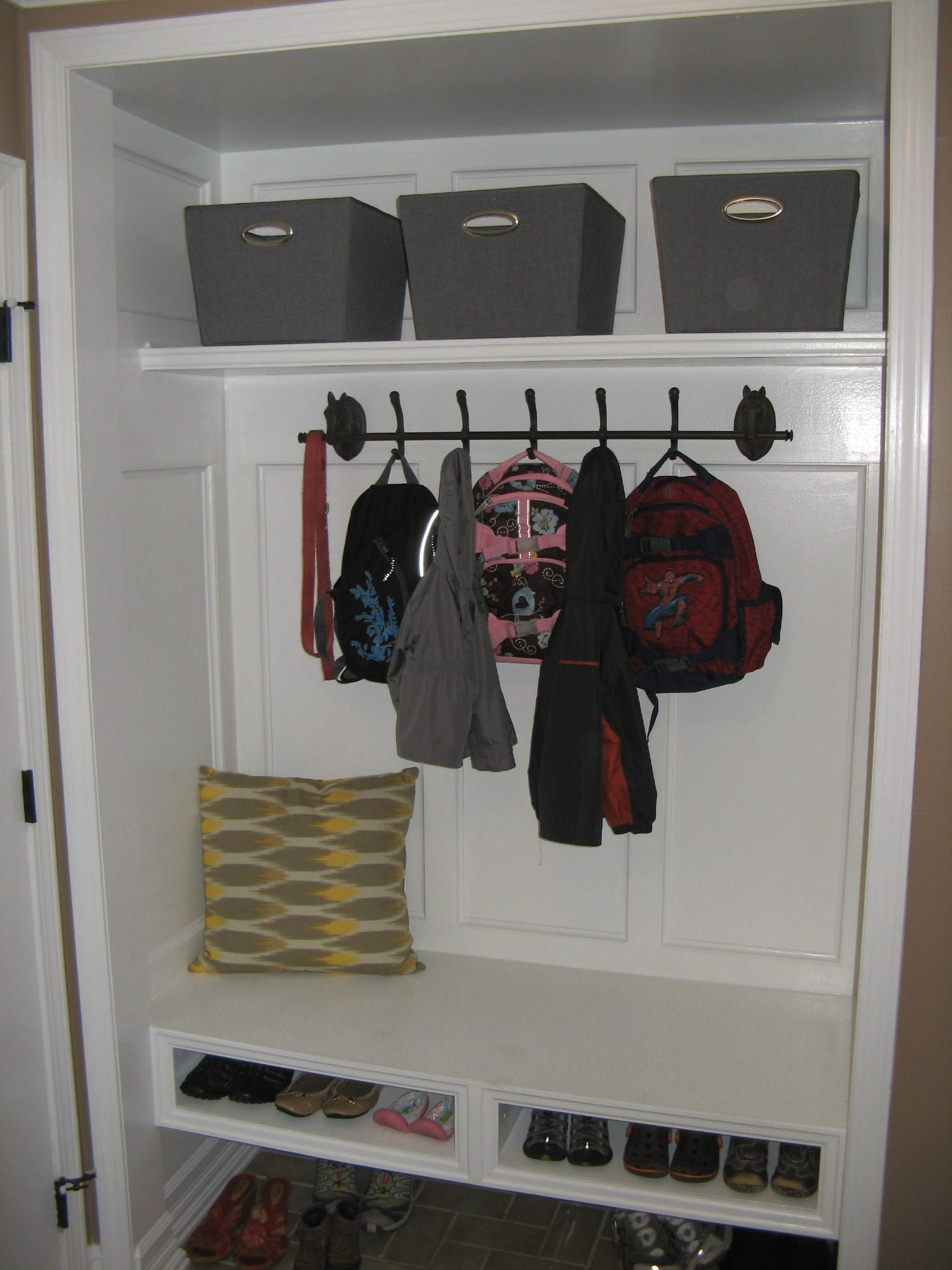 Closet Conversion Into Mudroom Floating Bench Shoe Storage Underneath Entry Pinterest