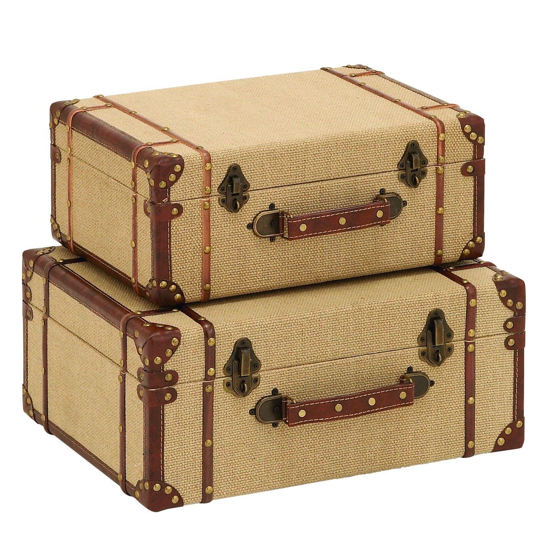 Decorative Luggage Box Woodland Imports 2 Piece Trunk Set  Products  Pinterest  Travel