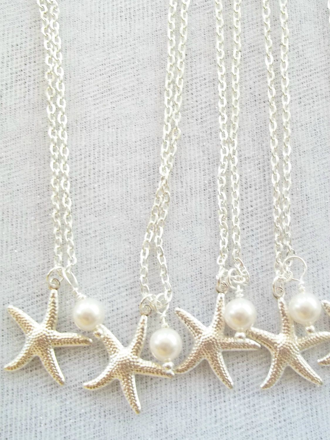 Four (4) Bridesmaid Necklaces, Swarovski Pearls, Silver Starfish ...