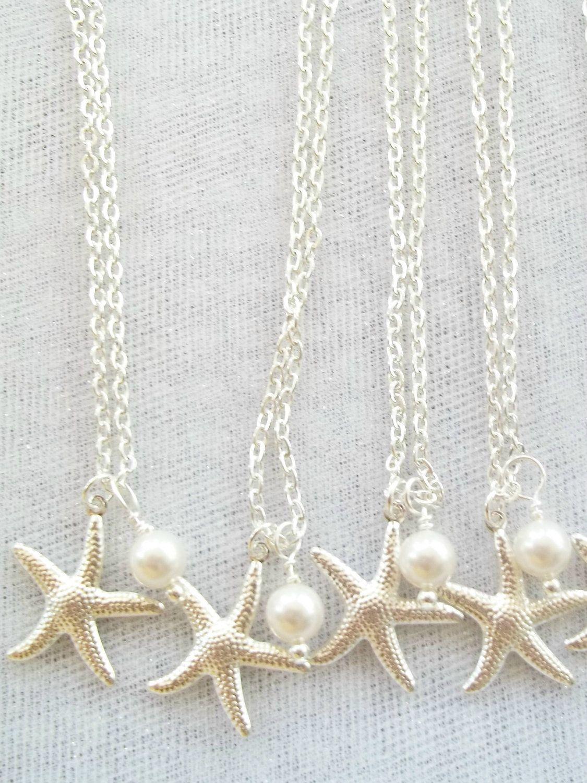 Four 4 Bridesmaid Necklaces Swarovski Pearls Silver Starfish
